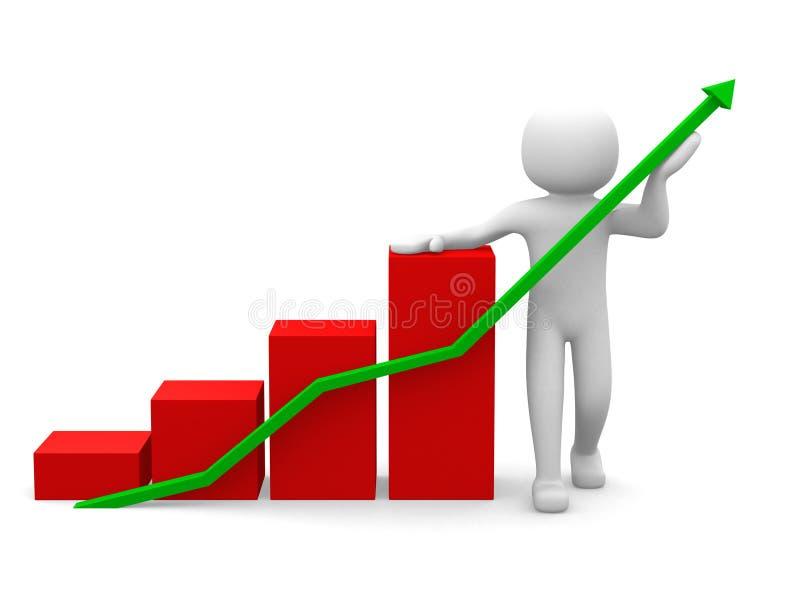 3d biznesowej statystyki wykresu biali ludzie ilustracja wektor