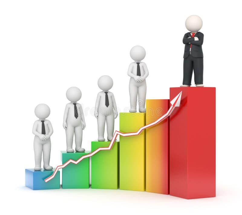3d biznesowi pieniężni wykresu dorośnięcia ludzie ilustracji