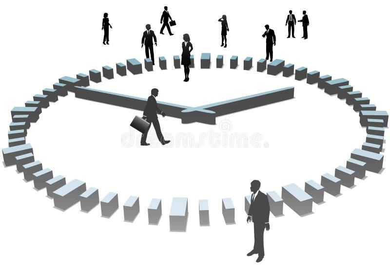 3d biznesu zegaru dzień ludzie sihouettes pracy ilustracja wektor
