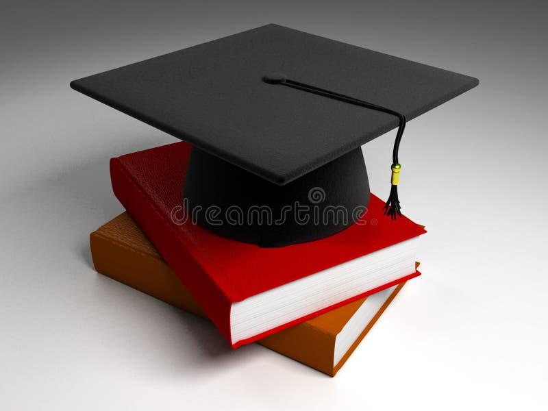 3D Black Graduation Cap & Books stock illustration