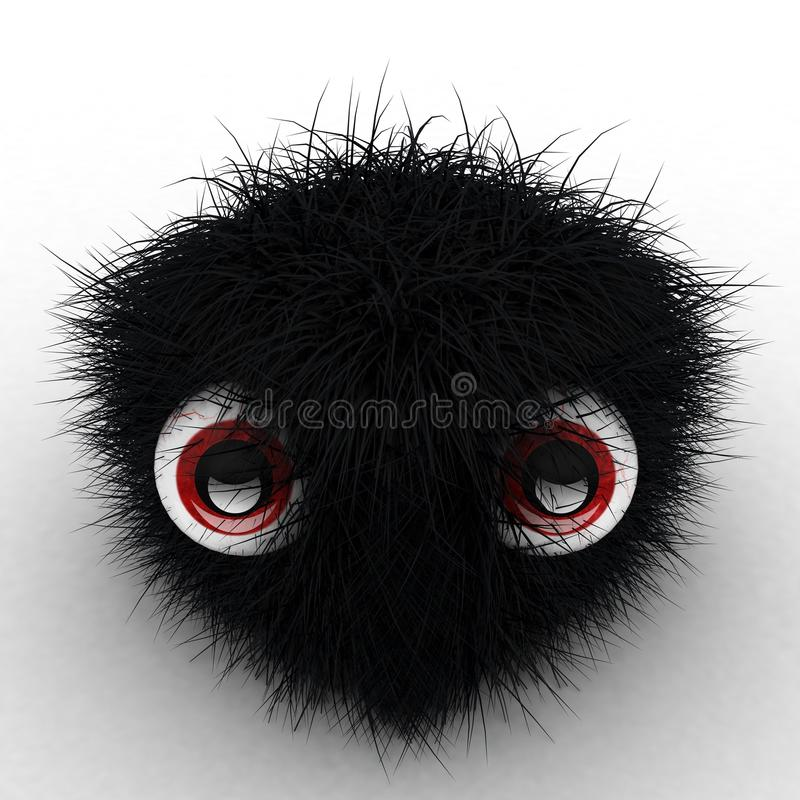 Download 3D Black Hairy Cube With Eyes Stock Illustration - Image: 15172940