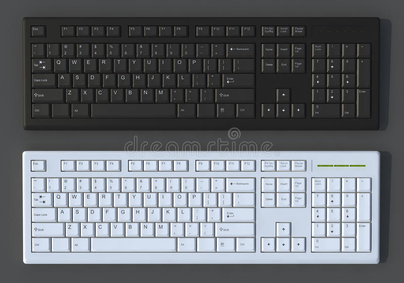 Download 3D Black And White  Keyboards Stock Illustration - Illustration: 25246225