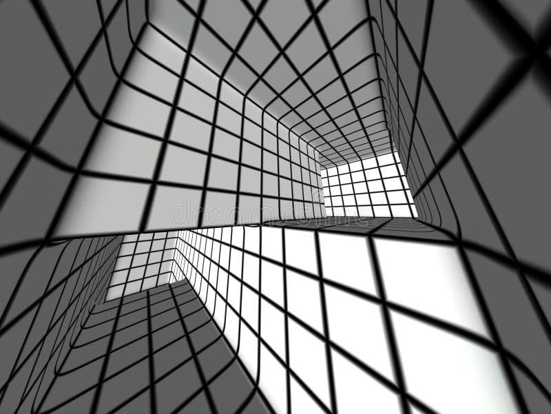 3d black and white tiled labyrinth stock illustration