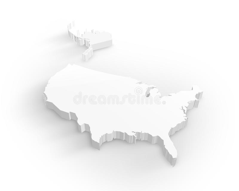 3d blank översikt USA royaltyfri illustrationer