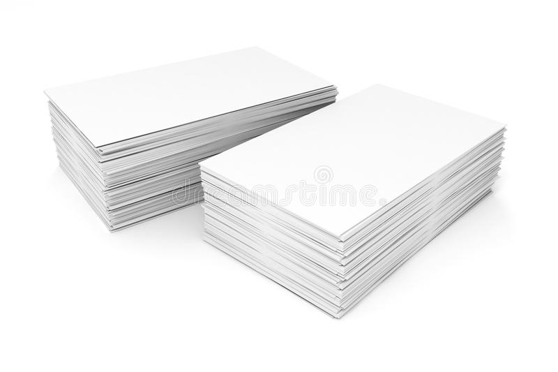 3d blank business cards. On white background stock illustration