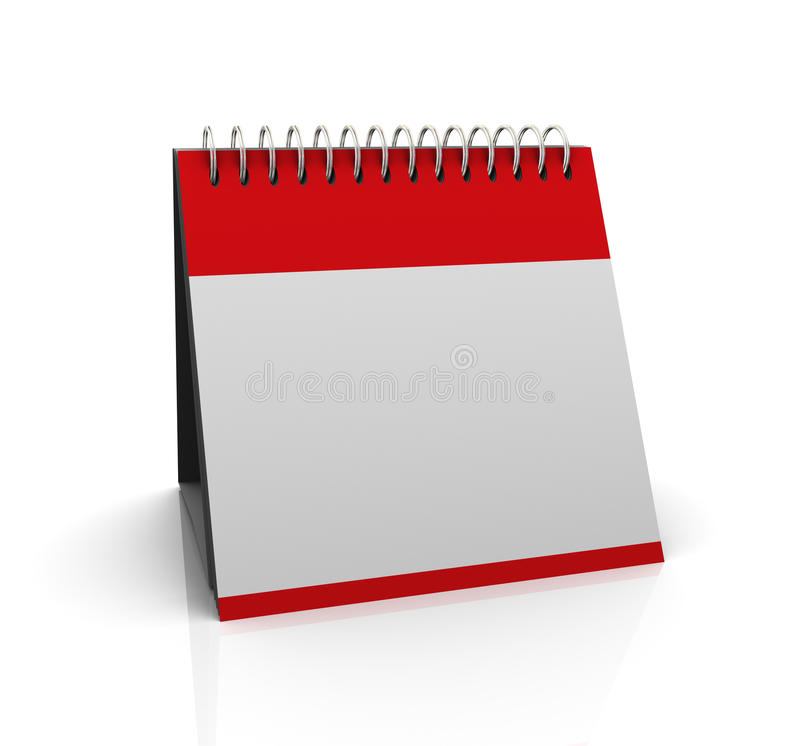 3d blank calender. 3d render of blank empty calender on white background vector illustration