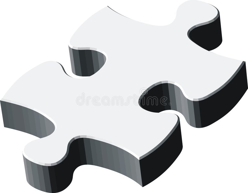 3d blankpuzzle部分 库存例证