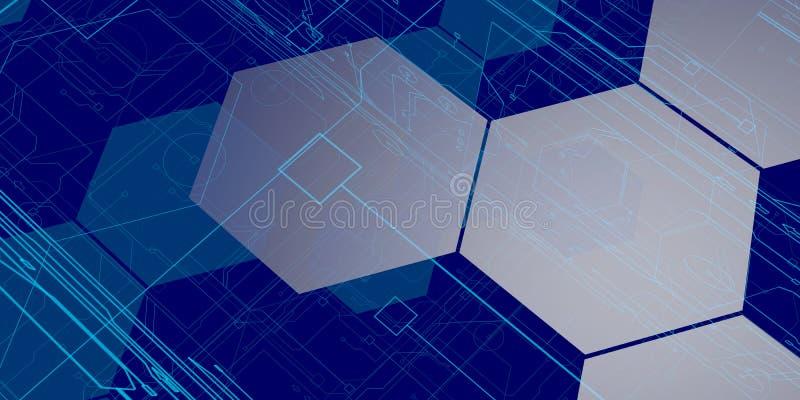 3D Blauwe Achtergrond van Technologie vector illustratie