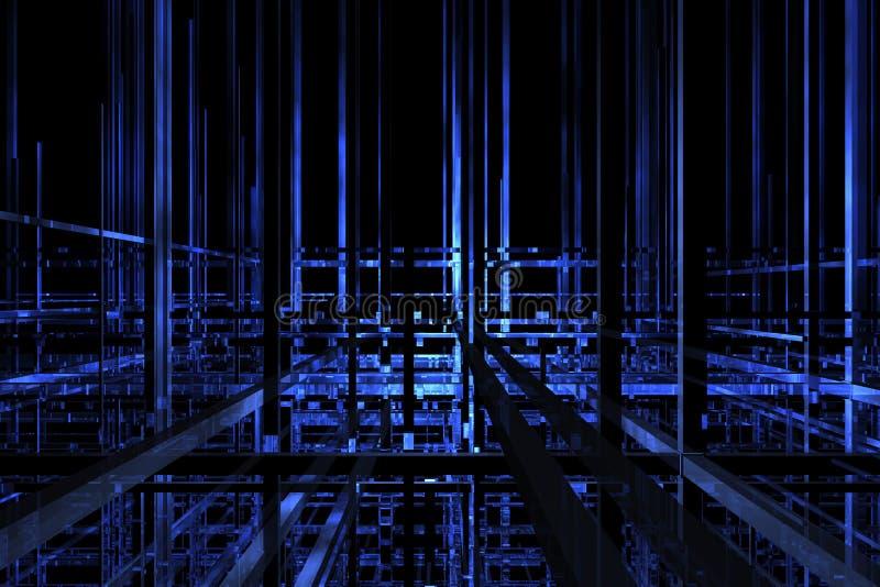 3D blauwe ruimte stock illustratie