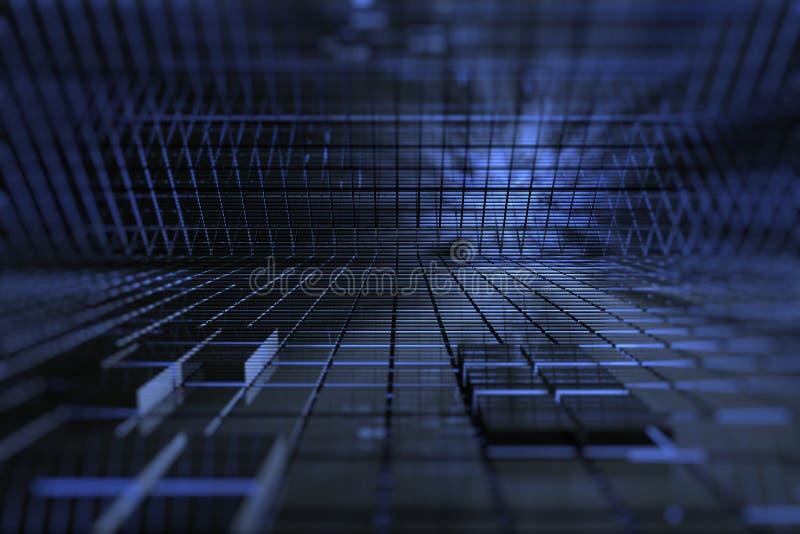 3D blauwe ruimte royalty-vrije illustratie