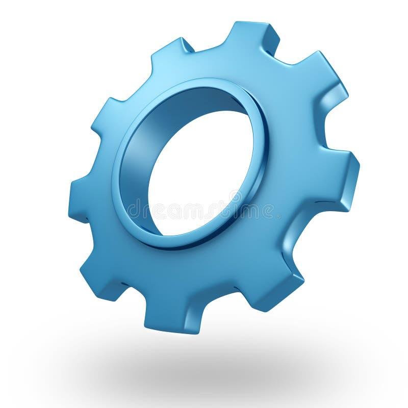 3d blauwe wiel van het concepten glanzende toestel op wit royalty-vrije illustratie