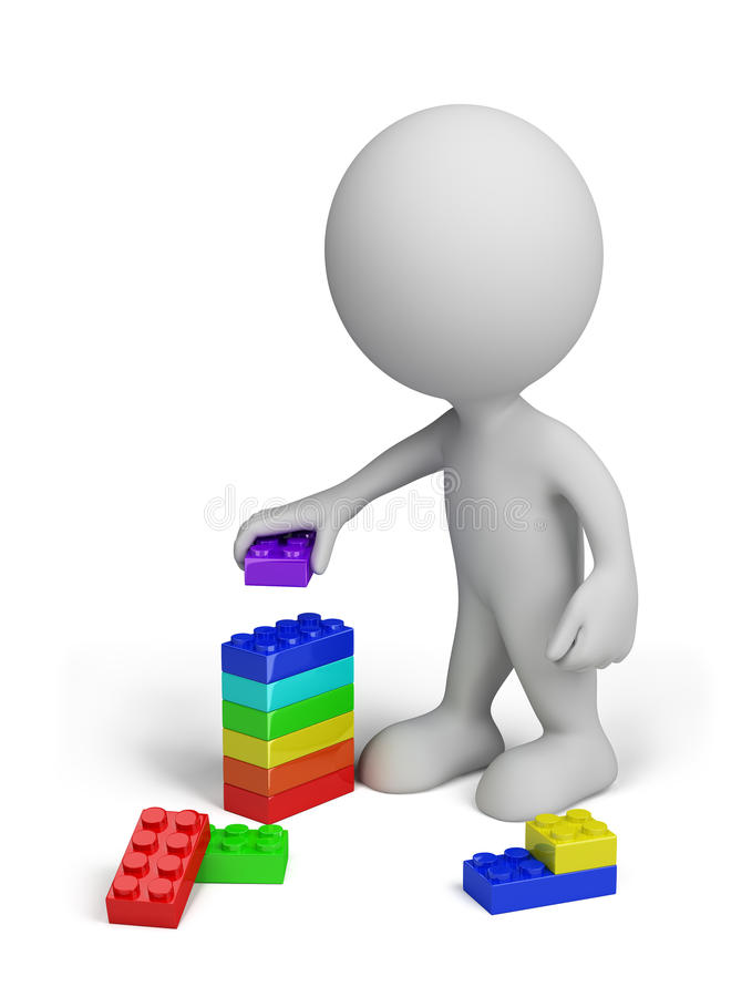 3d bloków osoby klingerytu zabawka royalty ilustracja