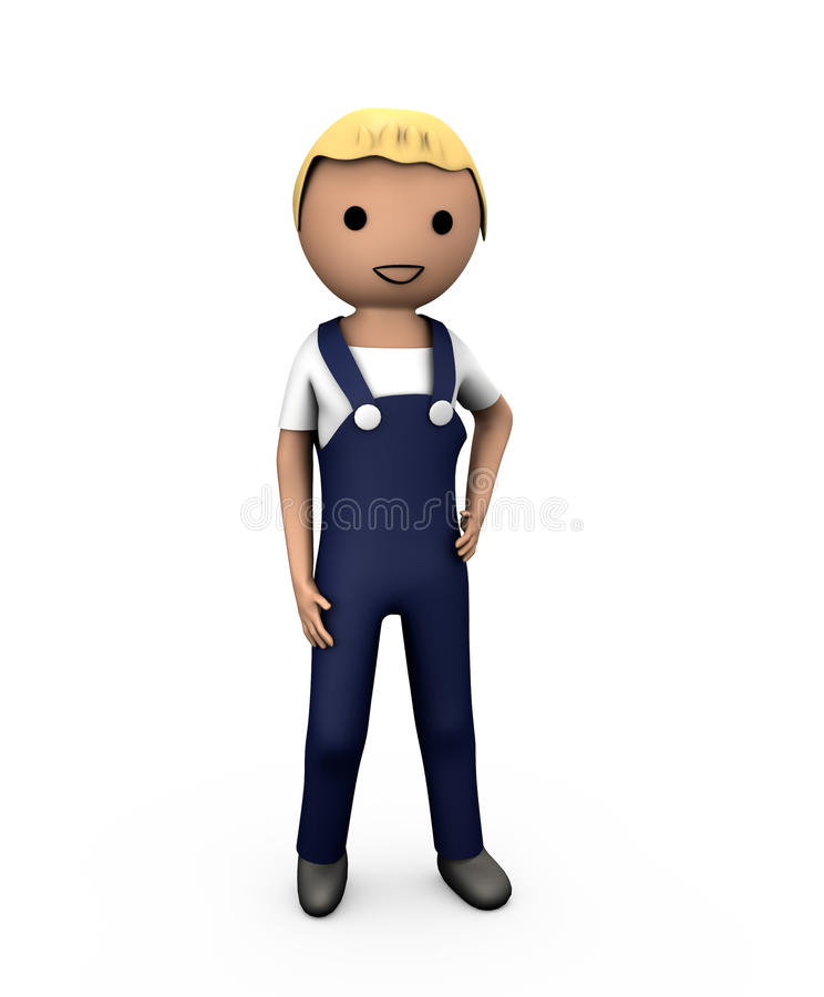 3D Blue Collar Workman. In Overalls on White royalty free illustration