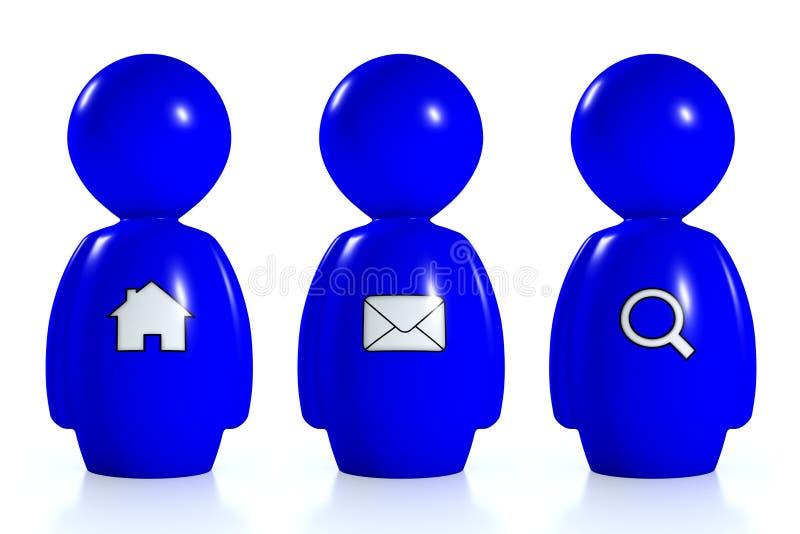 Download 3d Blue Humans With Web Symbols Stock Illustration - Image: 22855755