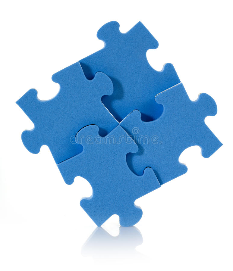 3D blue puzzle royalty free stock image