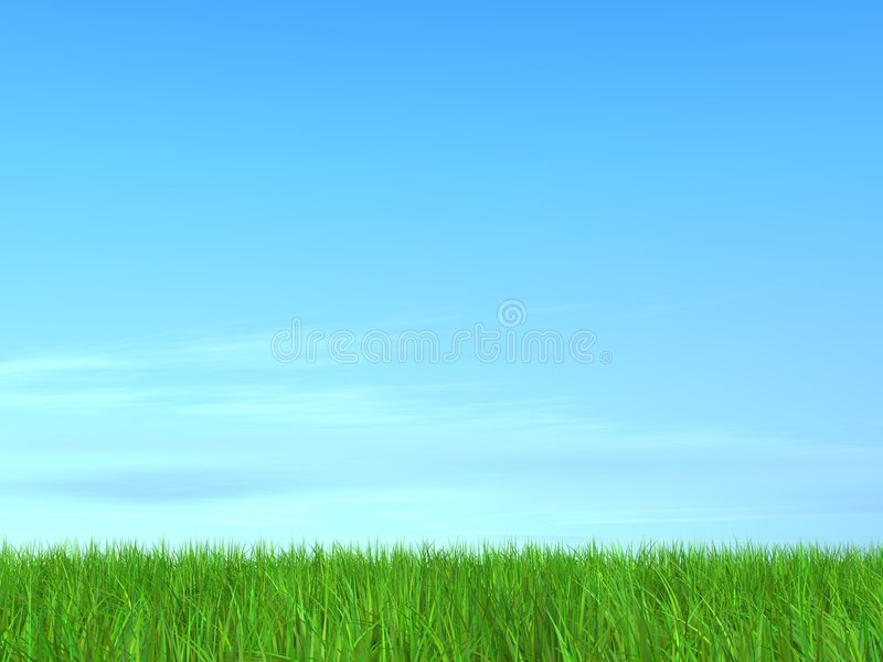 3D. Blue Sky with Green Field royalty free illustration