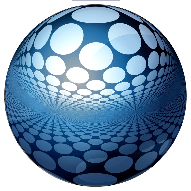 Free 3D BLUE SPHERE WITH REFLECTIONS Royalty Free Stock Images - 6538579