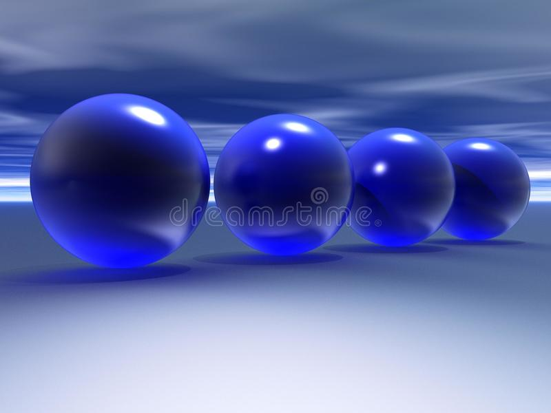 3D Blue Spheres Stock Photography