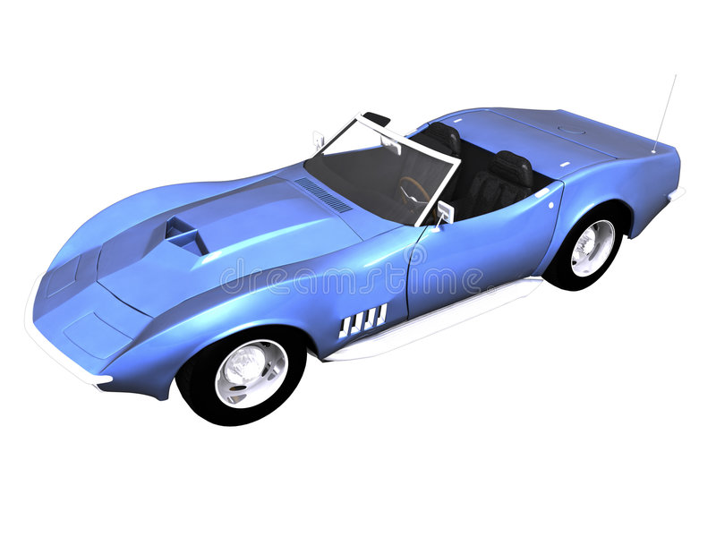 3D Blue sports car white. 3D Blue sports car front side view on black stock illustration