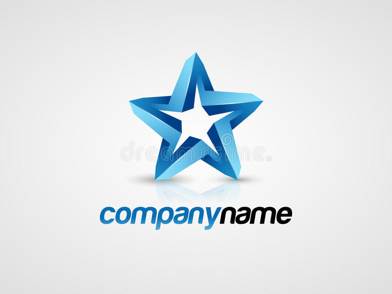 3D Blue star logo. 3D blue star vector logo