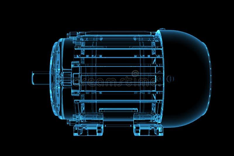 3D blue xray transparent motor royalty free illustration