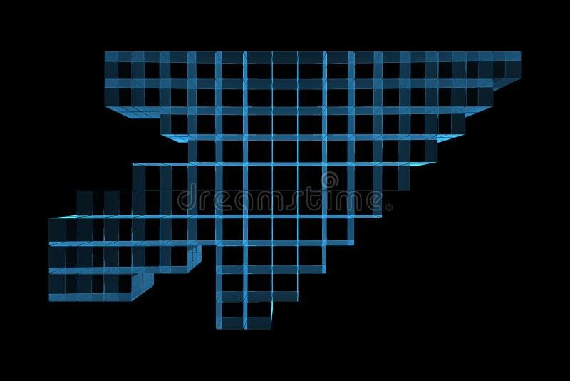 3D blue xray transparent mouse cursor