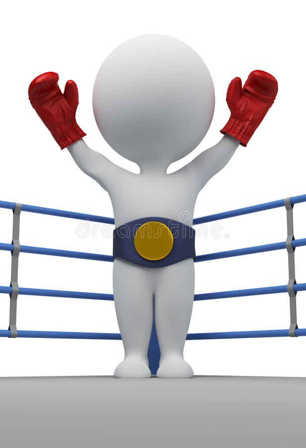 3d boksera mistrza ludzie mali ilustracji