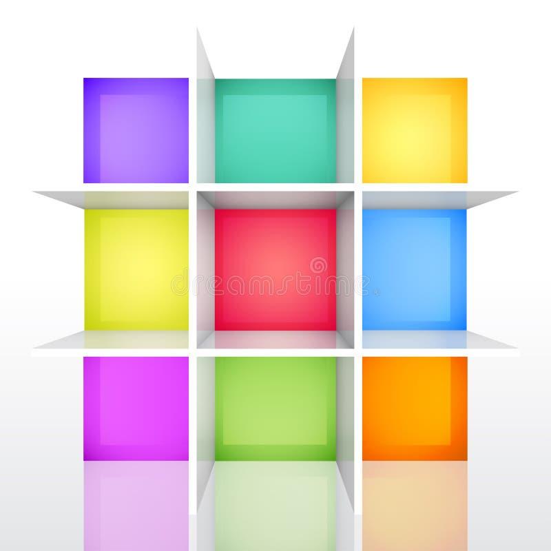 3d bookshel kolorowy opróżnia odosobnionego ilustracji