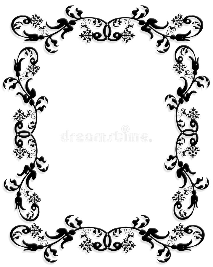 Borders Design Black And White 3d Border Frame Stock Illustration Of