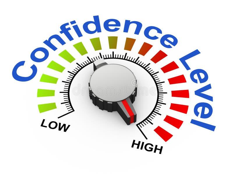 3d botão - nível de confiança ilustração stock