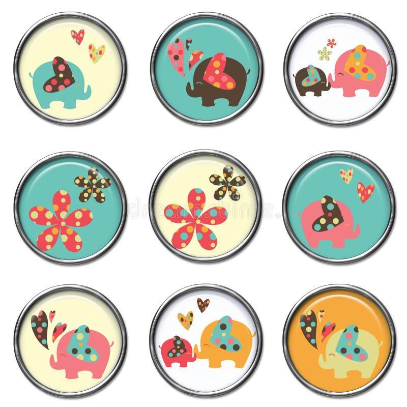 3D botones - elefantes fotos de archivo