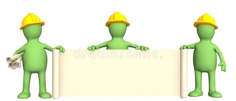 3d bouwers met broodjes van documenten stock illustratie