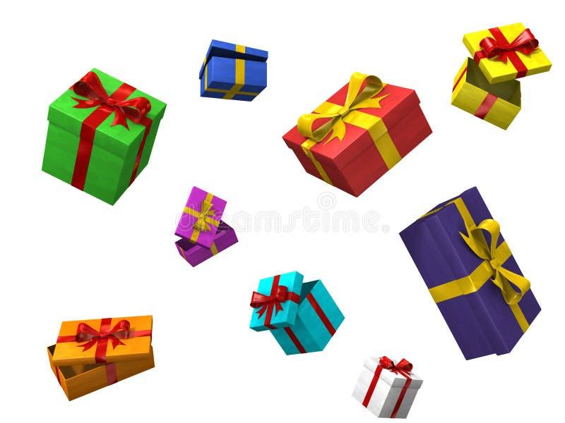 3d boxes färg royaltyfri illustrationer