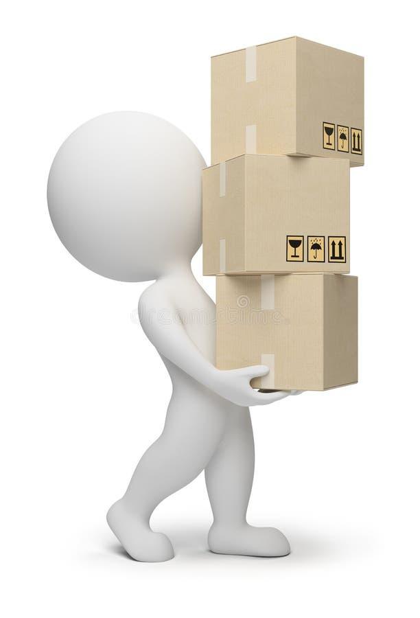 3d boxes litet folk stock illustrationer