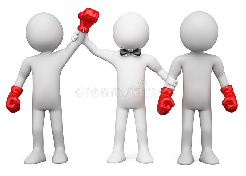 Download 3D Boxing Referee Choosing The Winner Stock Photo - Image: 22748030