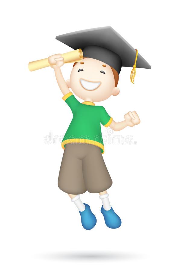 Download 3d Boy with Mortar Board stock vector. Image of adorable - 25596250