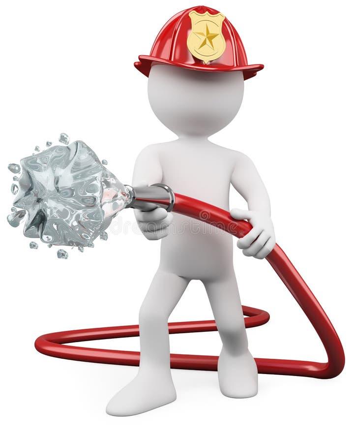 3D brandweerman die een brand dooft vector illustratie