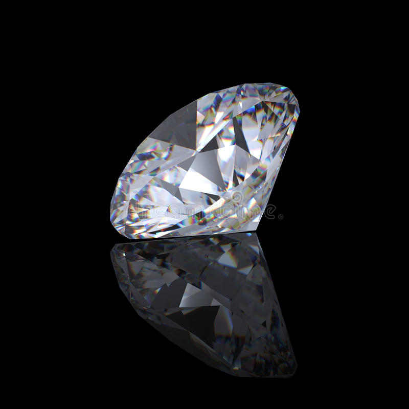 3d brilliant cut diamond perspective royalty free stock photo