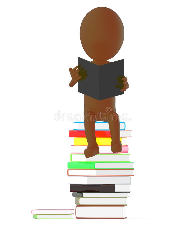 Free 3d Brown Character Reading Book While Sitting On The Top Of Pile Of Books Royalty Free Stock Image - 118302326