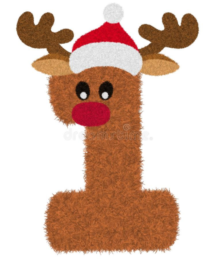 """Free 3D """"Brown Reindeer Wool Fur Feather Number Charactor"""" Creative Decorative With Red Christmas Hat, Number 1. Stock Photos - 166461873"""
