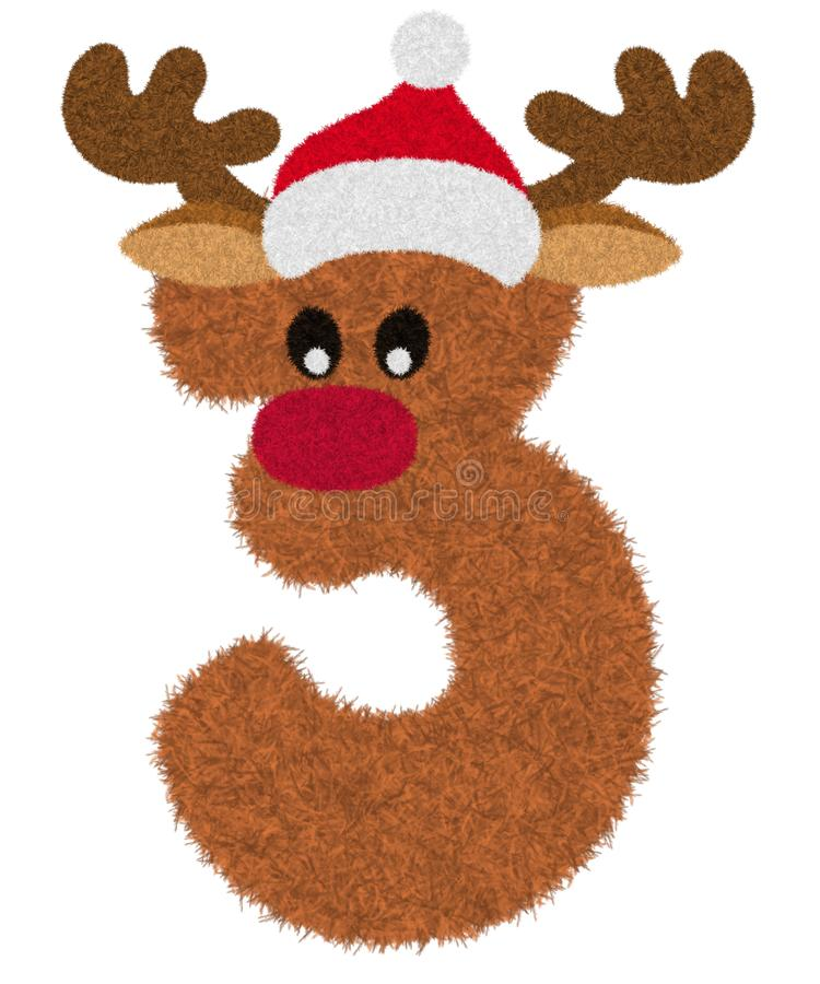 """Free 3D """"Brown Reindeer Wool Fur Feather Number Charactor"""" Creative Decorative With Red Christmas Hat, Number 3. Royalty Free Stock Photography - 166461967"""