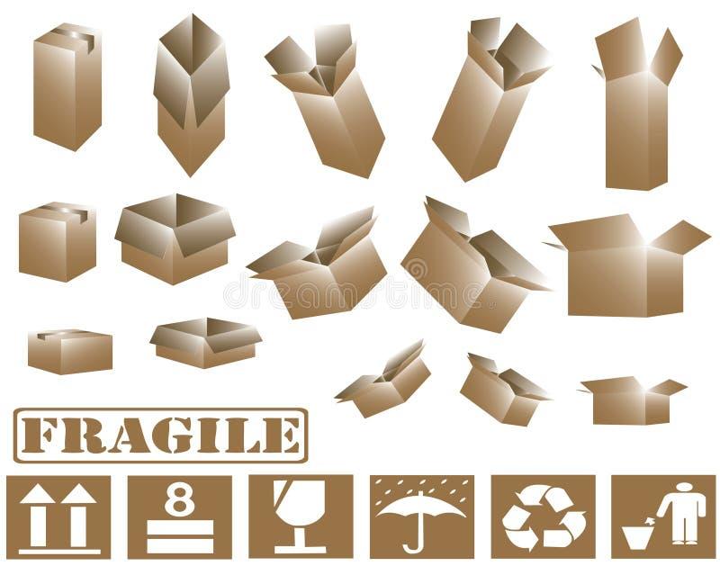 3d bruine van het kartondozen en teken inzameling vector illustratie