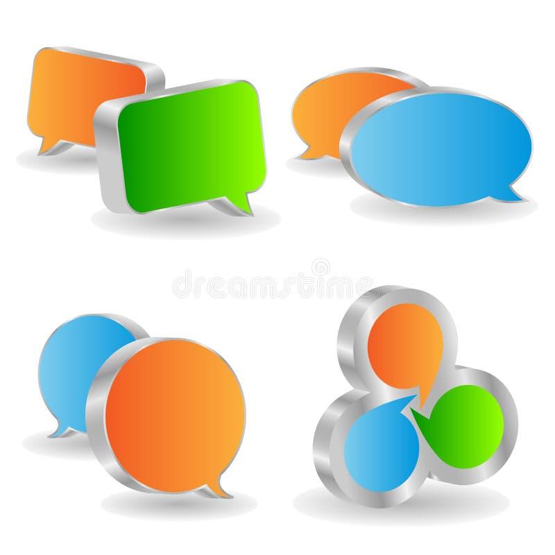 3d bubbles anförande stock illustrationer