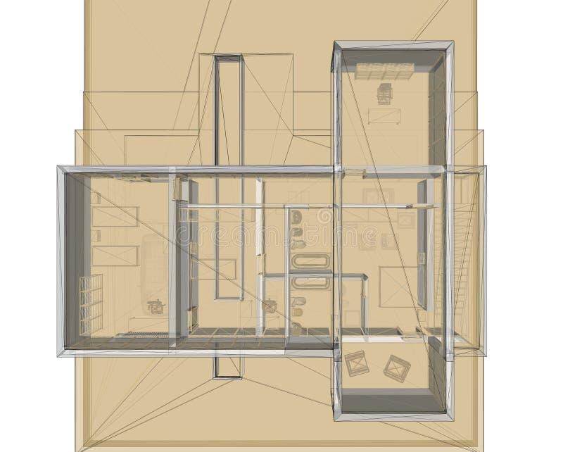 3d budynku ramy planu renderingu miejsca drut ilustracja wektor