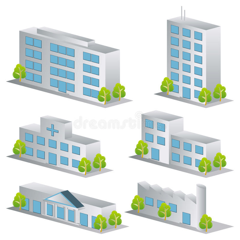 Download 3d building icons set stock vector. Illustration of interior - 15454309