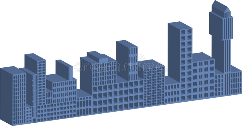 3D buildings. Illustration of 3D buildings with window cutouts royalty free illustration