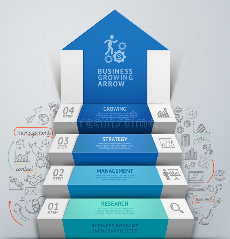 Free 3d Business Arrow Step Staircase Infographics. Royalty Free Stock Image - 45713516