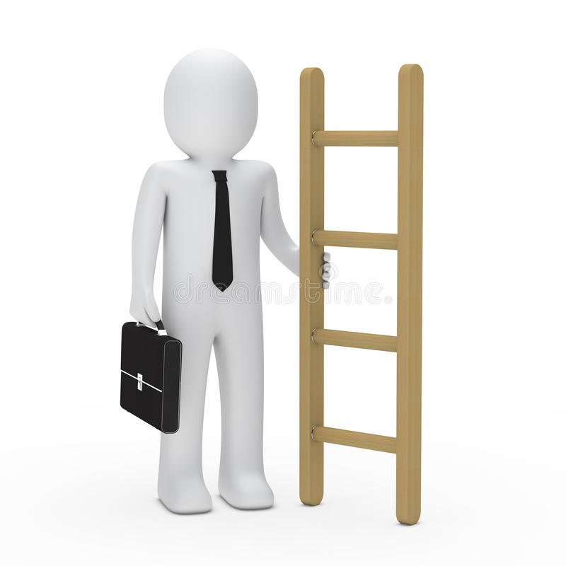 3d business briefcase man hold a ladder royalty free illustration