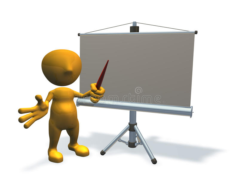 Download 3d Business Character With Presentation Equipment Stock Illustration - Image: 10486993