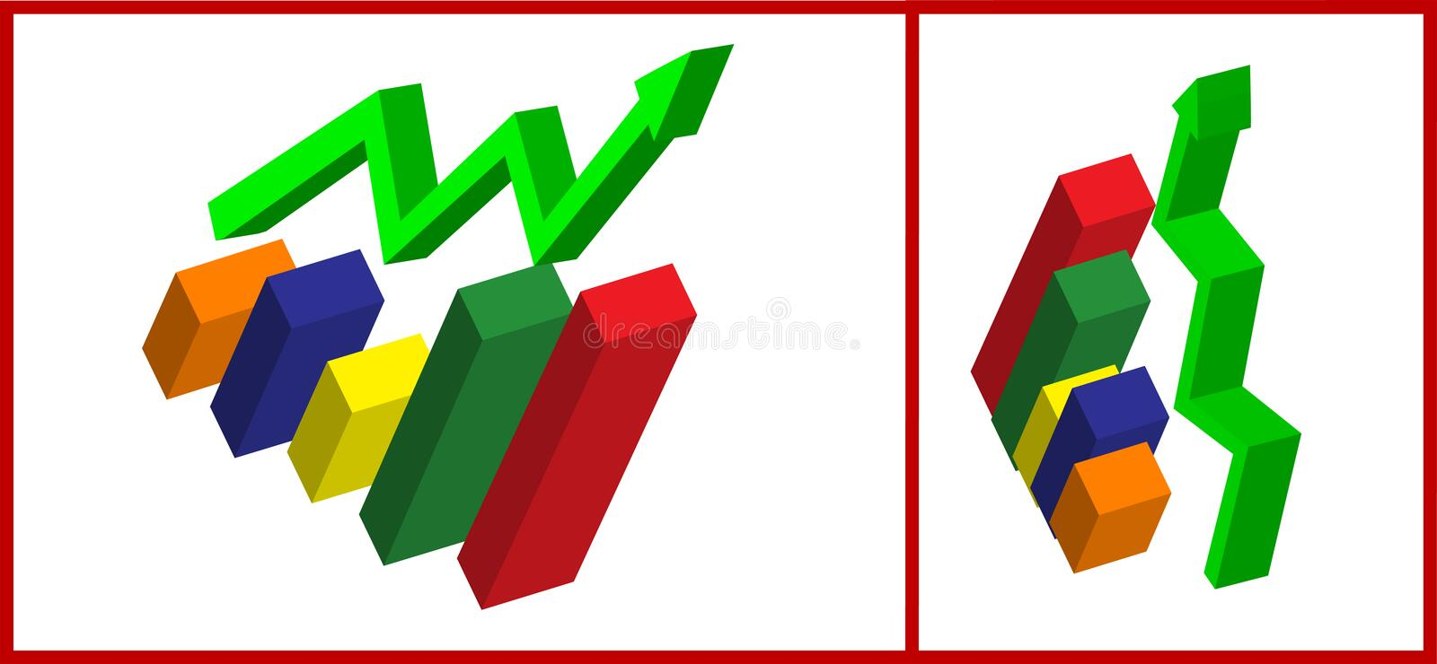 3d Business Graph royalty free illustration